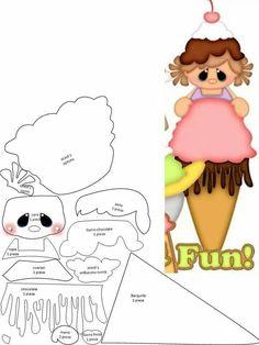 Aplique menininha com sorvete