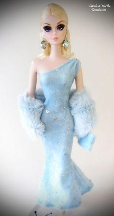 Light Blue Velour Dress Fashion for Silkstone Barbie