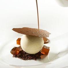 Pastry Chef Antonio Bachour - Frozen coffee semifreddo, chocolate cumble, warm chocolate soup and chocolate tuile recipe in my book Bachour Simply Beautiful available at Amazon.com #bachour