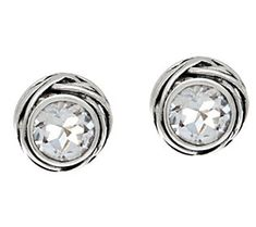 Sterling Silver Gemstone Solitaire Earrings by Or Paz