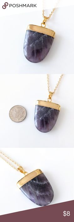 """Gold-plated genuine amethyst shield necklace Nickel-free chain measures about 18"""".  Gorgeous genuine stone!  PRICE IS FIRM and extremely reasonable; bundle to save 10% today! Jewelry Necklaces"""