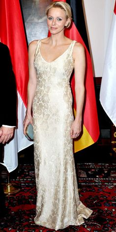 Princess Charlene of Monaco dined at a Berlin gala in a floral gown, diamond studs and a mint minaudiere.