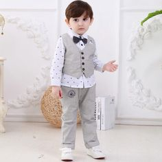 baby boy clothes gentleman kids formal tops and pant suit cotton boys 3 piece suits children 6months to 4 years clothing sets