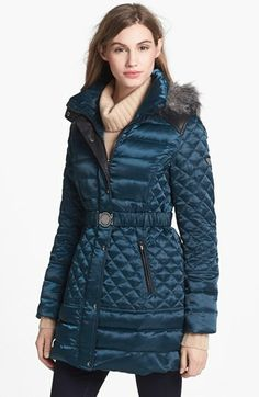 GUESS Faux Fur Trim Down & Feather Coat (Online Only) available at #Nordstrom