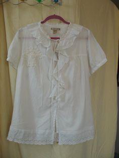 A romantic white tunic, mini dress,Size Medium, ruffles white cotton blouse    Many pretty details: white eyelet at the hem vintage doily on the