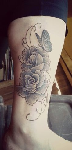 Black and grey roses with butterfly