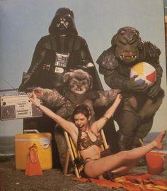 Princess Leia, an ewok, and Darth Vader and a beach ball