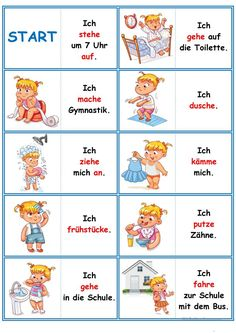 Games in German lessons: Domino - the daily routine Study German, Learn German, German Grammar, German Words, Deutsch Language, Germany Language, Autism Education, Routine Chart, German Language Learning