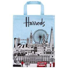 Harrods Bold London Medium Gusset Bag ($25) ❤ liked on Polyvore featuring bags, handbags, harrods bag, harrods handbags, blue bag, blue handbags and blue purse
