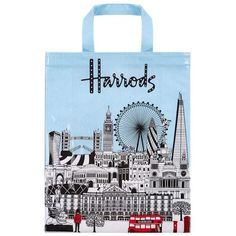 Harrods Bold London Medium Gusset Bag ($25) ❤ liked on Polyvore featuring bags, handbags, harrods bag, harrods handbags, blue bag, blue handbags and blue purse