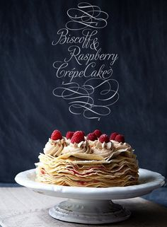 Raspberry and Biscoff Crepe Cake