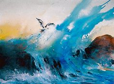 One of my most successful WAVE paintings..Was a demo in my Ocean watercolor workshop at the Mendocino Art Center.