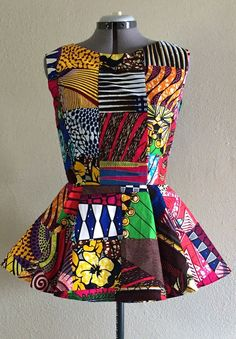 Sleeveless African Wax Print Patchwork Peplum Shirt by WithFlare African Tops, African Dresses For Women, African Print Dresses, African Attire, African Fashion Dresses, African Wear, African Women, African Prints, African Style Clothing