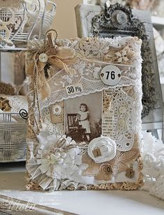 Beige and white lace journal