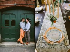 Vintage place settings for two grooms // Emily Elizabeth Events + A love supreme photography + Pretty Flowers Maine + Joseph's + Blessings Home and Design + Mizu