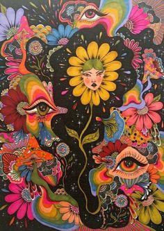 Hippie Painting, Trippy Painting, Hippie Drawing, Arte Indie, Indie Art, Arte Hippy, Art Sketches, Art Drawings, Indie Drawings