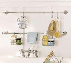 Check out the Mercer Bath Storage System in Bath Accessories, Tub Caddies & Shower Storage from Pottery Barn for . Bathtub Storage, Shower Storage, Bedroom Storage, Bath Rack, Bathtub Shower, Bath Tub, Small Bathroom, Bathroom Ideas, Bathrooms