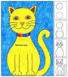 Art projects for kids: draw a sitting cat уроки рисования де Cat Drawing, Drawing For Kids, Art For Kids, Basic Drawing, Kids Fun, Club D'art, Art Club, Art 2nd Grade, Grade 2