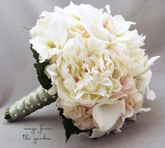 Bridal Bouquet Real Touch Peonies Calla Lilies Orchids Hydrangea Ivory Blush Pink Inspirations    Bride & Groom