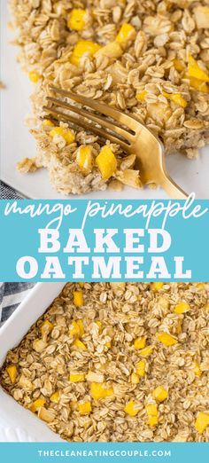 Mango Pineapple Oatmeal is an easy meal prep friendly breakfast. Gluten free dairy free simple to make and packed with pieces of fruit! This tropical baked oatmeal is delicious - filled with pineapple coconut and mango - it's like a vacation in a dish! Healthy Vegan Snacks, Healthy Gluten Free Recipes, Healthy Breakfast Recipes, Healthy Breakfasts, Healthy Dishes, Vegetarian Recipes, Clean Eating Breakfast, Best Breakfast, Breakfast Ideas