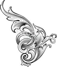 Vector - Designed by a hand engraver, this detailed intertwining scrollwork can be used a number of ways. Easily change the scroll colors. Scale to any size without loss of quality with the enclosed. Leather Carving, Leather Tooling, Wood Carving, Molduras Vintage, Filigree Tattoo, Ornament Drawing, Scroll Pattern, Metal Engraving, Leather Pattern