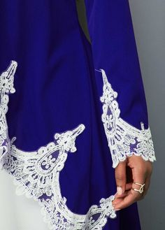 03113f741cd Lace Panel Royal Blue High Low Blouse