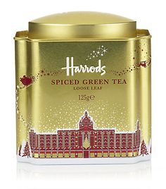 Harrods Spiced Green Tea tin, gold with red lettering and drawing of the historic London department store decorated with Christmas lights, Santa Claus sleigh flying overhead, c. Harrods Christmas, Christmas Tea Party, Twinings Tea, Tea And Books, Decorating With Christmas Lights, Tea Packaging, Tea Tins, Marca Personal, Tea Box
