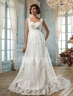 Lanting Bride® Sheath / Column Petite / Plus Sizes Wedding Dress - Classic & Timeless / Glamorous & Dramatic Vintage Inspired Court Train 2017 - $149.99