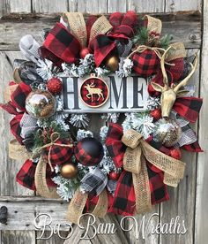 Rustic Christmas Wreath, Rustic Christmas Decor, Christmas Decor, Christmas Decorations, Burlap Christmas, Country Christmas HOME❤️ If you like to wear blue jeans and smell the fresh air~ then you probably got some country in ya. Well you can dress your door with some Southern flare with this STUNNING Buffalo Check Christmas wreath. Made on a evergreen base and filled with glistening pine sprays, red berry sprays, rustic ornaments, gorgeous flocked red checkered ribbons, red, an assortm...