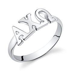 Sterling Silver Alpha Chi Omega Letter Ring by GreekGirlShop, $30.00