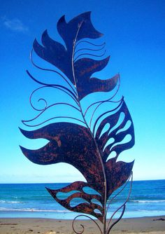 Large steel feather The background of the island coun. Scrap metal sculpture metal sculpture abstract metal sculpt T Metal Sculpture Wall Art, Steel Sculpture, Outdoor Sculpture, Sculpture Ideas, Sheet Metal Art, Scrap Metal Art, Outdoor Wall Art, Metal Yard Art, Steel Art