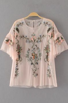 Cheap blusas fashion, Buy Quality mesh blouse directly from China blouse fashion Suppliers: 2017 New Fashion Women Vintage Floral Embroidery Mesh Blouses Shirts lady Butterfly Sleeve Feminine Blusa 2 colors Tops Floral Tops, Floral Blouse, Casual Tops For Women, Blouses For Women, Ladies Tops, Bordado Floral, Look Boho, Embroidered Blouse, Fashion Outfits