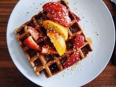 vegan + gluten-free waffles with plums and peaches @gratitudeandgreens