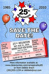 Tickets Class Reunion Save the Date Cards are personalized with your high school reunion information including school name, colors, date, etc. More save the dates and class reunion favors at http://www.photo-party-favors.com/class-reunion-favors.html