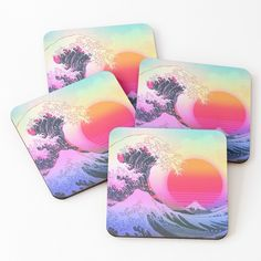 """Great Wave Vaporwave Retro Aesthetic"" Coasters (Set of 4) by ind3finite 