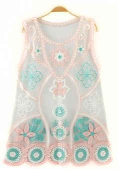 Pink Floral Embroidery Sleeveless T-Shirt