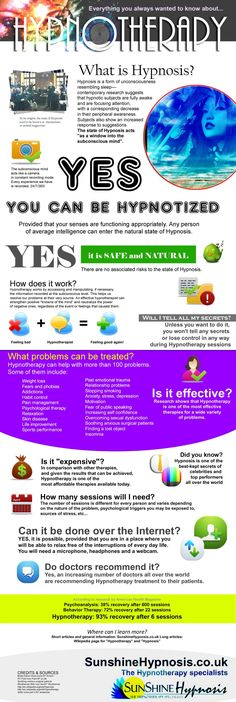 #Hypnotherapy Infographic by SunshineHypnosis.co.uk YES2LIFE offers HYPNOTHERAPY