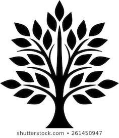 Flower Silhouette, Tree Silhouette, Silhouette Portrait, Diy Wall Painting, Fabric Painting, Stencil Patterns, Stencil Designs, Tree Stencil, Simple Tree