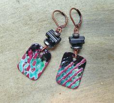 by Sheri Mallery, Enamel colorful handmade artisan earrings by SheriMalleryHandwork