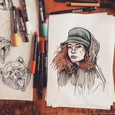 Warm-up/New pen sketches, including longtime insta pal @urbantraveller