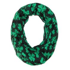 Celebrate St. Patrick's Day with this fun and festive shamrock print scarf! The lightweight material is perfect to pair with any outfit or temperature.