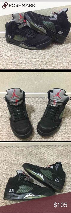 Jordan metallic 5's (black) The bottoms are yellow but in good condition. Size 9 in men's and 6/10 condition. A bit of creasing but the shoes still have a lot of life. Does not come with original box. I accept trades and offers! No lowballers please Jordan Shoes Sneakers