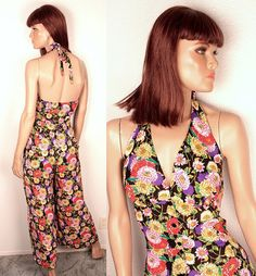90s floral jumpsuit // wide leg // halter by BexVintage on Etsy, $32.00
