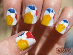 Summer beach ball nails