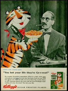 Tony the Tiger and Groucho Marx with Kelloggs Frosted Flakes, 1955