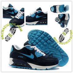 Mode | Nike Chaussure Sport Air Max 90 Homme Blanc Bleu Saphir Gris