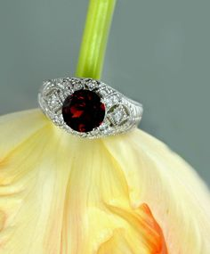 Antique Style Royal Red Garnet and White Toapz Sterling Silver Ring by green gem. $275.00, via Etsy.