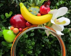 Tropical Fruits and  white Orchids Headband - Carmen Miranda style -