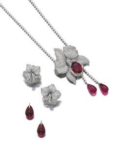 Tourmaline and diamond demi-parure, 'Caresse d'orchidées', Cartier, Sotheby's