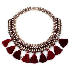 Statementkette 'TASSEL STATEMENT BORDEAUX' Quasten von juniiqjewelry auf DaWanda.com